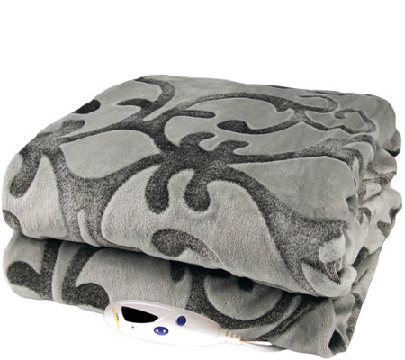 Biddeford Gray Embossed Two-Tone Velour Heated Throw