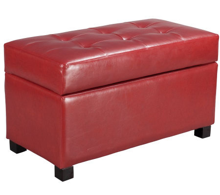 Storage Ottoman in Crimson Red Faux Leather byOffice Star