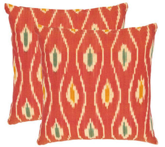 "Safavieh Set of 2 22""x22"" Iris Printed Ikat Design Pillows - H360611"