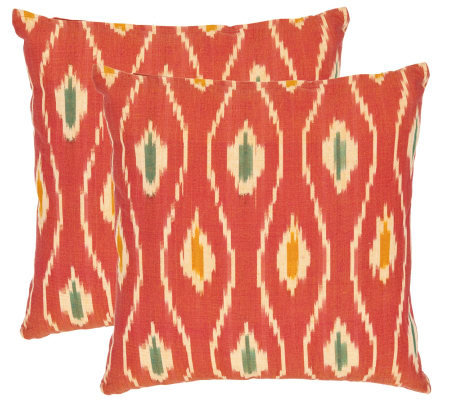 "Safavieh Set of 2 22""x22"" Iris Printed Ikat Design Pillows"