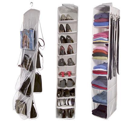 Set Of 3 Hanging Closet Organizers By Lori Greiner