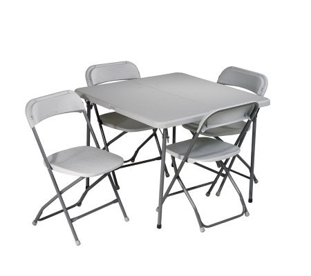 Office Star Light Gray 5 Piece Folding Table &Chair Set