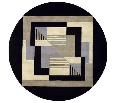 "Momeni New Wave Geometric 5'9"" Round Handmade Wool Rug"