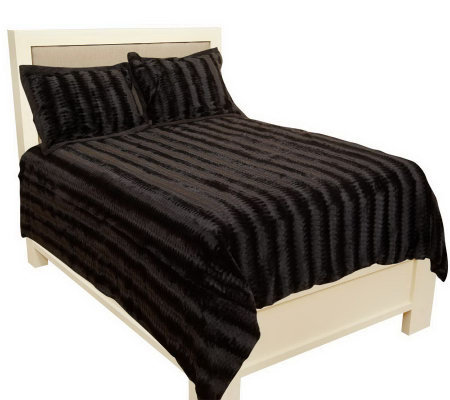Dennis Basso Faux Fur 3-piece F/Q Coverlet & Sham Set