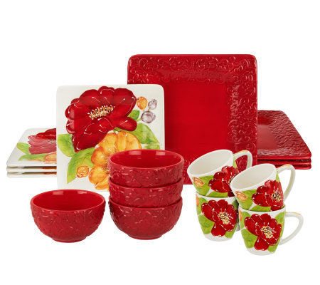 Laurie Gates Alessia 16-piece Ceramic Dinnerware Set