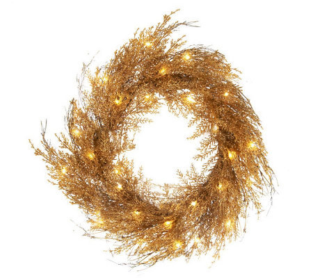 "Lit Sparkling Cedar Twig 22"" Wreath or 4' Garland"