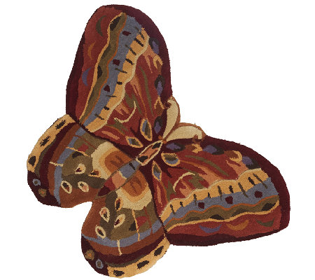 "Royal Palace Butterfly Radiance Diecut 2'6"" x 3'6"" Wool Rug"