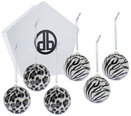 Dennis Basso Set of 6 Animal Printed Ornaments with Gift Box