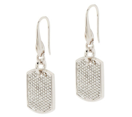 Stella Valle Swarovski Crystal DogTag Earrings by Lori Greiner