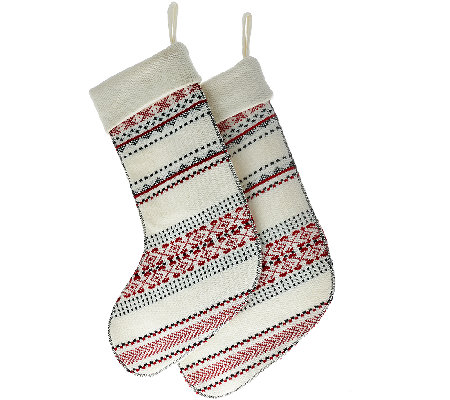 ED On Air Set of 2 Knit Fair Isle Stockings by Ellen DeGeneres