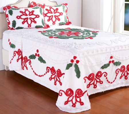 Festive Holly Chenille 100% Cotton Bedspread with Sham(s)