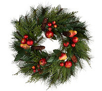 "20"" Pomegranate and Ornament Mixed Greens Wreath by Valerie - H211912"