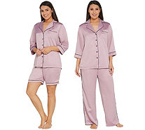 """As Is"" Casa Zeta-Jones 3-Piece Pajama Set w/ Piping Detail - H217412"
