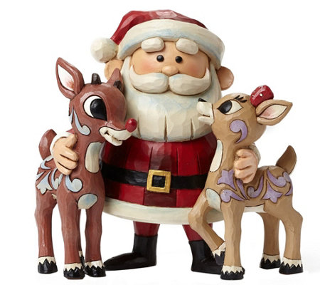Jim Shore Rudolph Traditions Santa Hugging Rudolph & Clarice