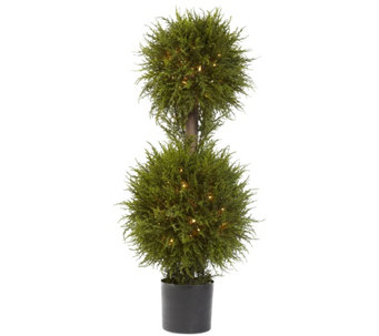 "40"" Cedar Double Ball Topiary with Lights by Nearly Natural - H290612"