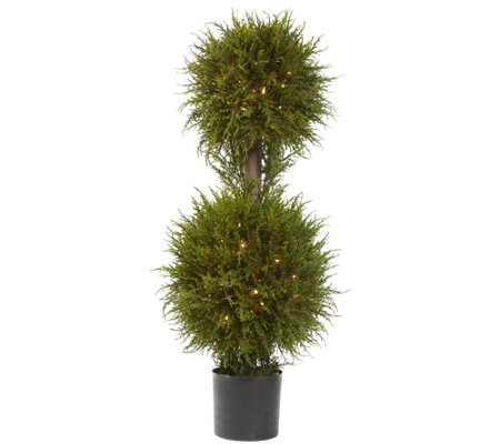 "40"" Cedar Double Ball Topiary with Lights by Nearly Natural"