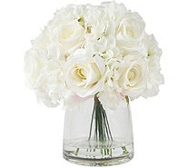 Pure Garden Cream Hydrangea & Rose Floral Arrangement w/ Vase - H291712