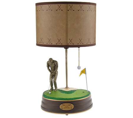 Animated Golfers Lamp With Sound And Cherry Base