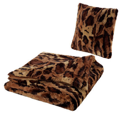 Dennis Basso Oversized Animal Print Faux Fur Throw & Pillow Set