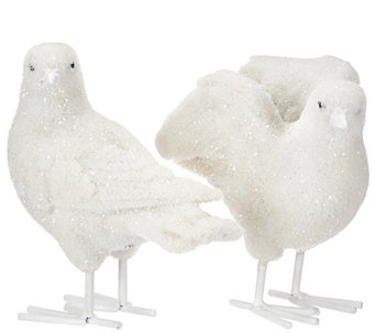 Set of 2 Sugared and Flocked Doves by Valerie - H205313
