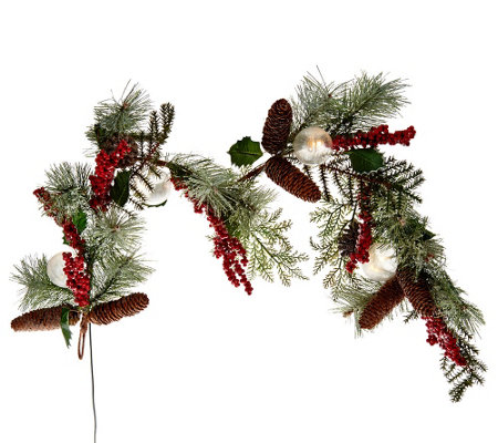 Frosted Holly, Berry and Ball Wreath or Garland by Valerie