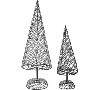 ED On Air Set of Two Fillable Metal Wire Trees by Ellen DeGeneres - H207013