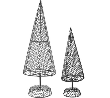 ed on air set of two fillable metal wire trees by ellen degeneres - Metal Christmas Tree