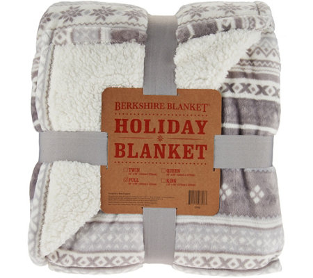 Berkshire Oversized Twin Fair Isle Loftmink/Sherpa Blanket