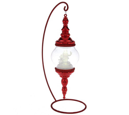 Kringle Express Hanging Finial Ornament with Lighted Frosted Scene