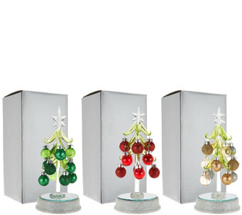 """As Is"" Kringle Express S/3 Lit Glass Trees with Ornaments - H211313"