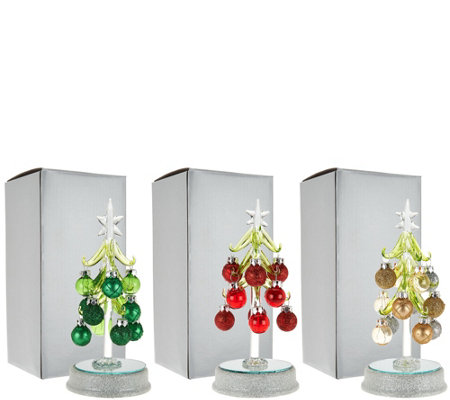 """As Is"" Kringle Express S/3 Lit Glass Trees with Ornaments"