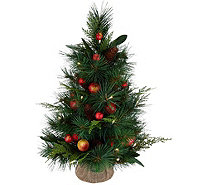 "24"" Illuminated Pomegranate and Ornament Mixed Greens Tree by Valerie - H211913"