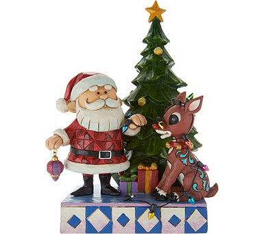Jim Shore Santa with Rudolph Wrapped in Lights Figurine - H212513