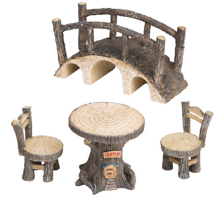 Plow & Hearth Tree Stump Fairy Set