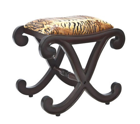 Linda Dano Bench with Zebra-Striped Fabric Seating