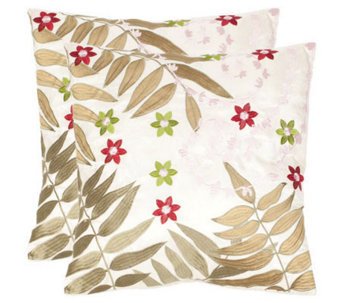 "Safavieh Set of 2 18""x18"" NaiisFern Applique Pillows - H360613"
