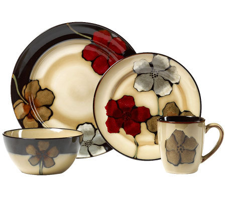 Pfaltzgraff Everyday Painted Poppies 16 pc dinnerware set