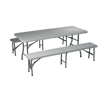 Office Star Light Gray 3 Piece Folding Table and Bench Set - H155014