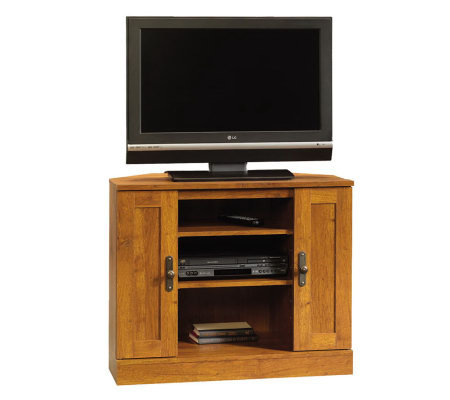 Sauder Harvest Mill Corner Entertainment Stand-Oak Finish