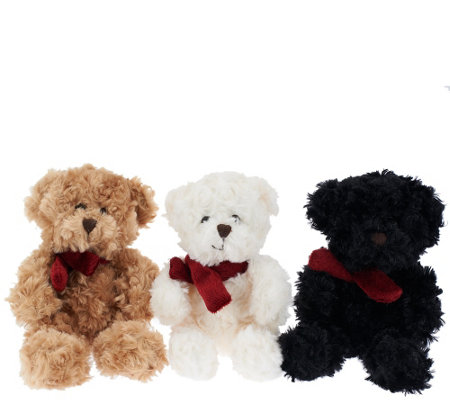 Dennis Basso Set of Three Mini Faux Fur Teddy Bears