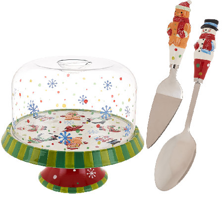 Temp-tations Winter Whimsy Convertible Cake Stand w/ Dome Lid Set