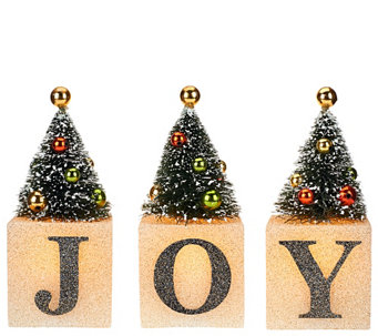"3-piece Illuminated ""Joy"" Blocks with Trees by Valerie - H205314"