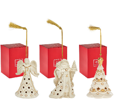 Lenox S/3 Florentine & Pearl Ornaments with Gift Boxes