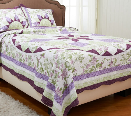 French Star King 100% Cotton Quilt Set with