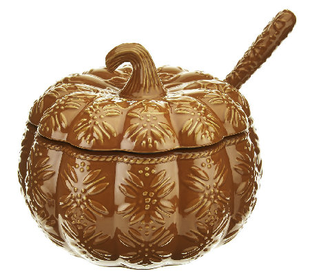 Temp-tations Old World 4 qt. Embossed Pumpkin Tureen w/ Ladle