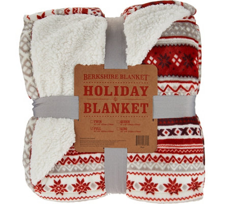 Berkshire Oversized Full Fair Isle Loftmink/Sherpa Blanket