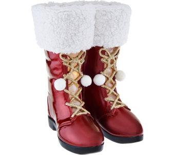 "Kringle Express 12"" Illuminated Santa Boots with Fabric & Glitter Accents - H209814"