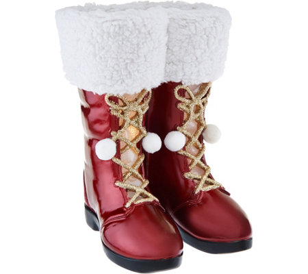 "Kringle Express 12"" Illuminated Santa Boots with Fabric & Glitter Accents"
