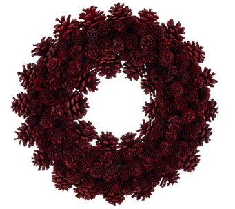 """As Is"" ED On Air 14"" Rustic Mixed Pinecone Wreath by Ellen DeGeneres - H210314"