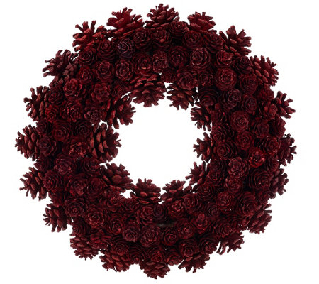 """As Is"" ED On Air 14"" Rustic Mixed Pinecone Wreath by Ellen DeGeneres"